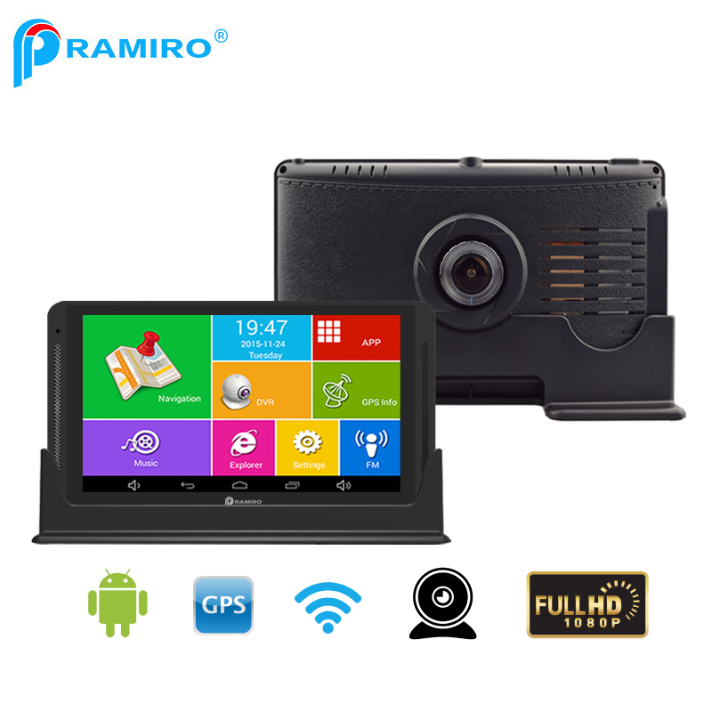 PRAMIRO Car DVR and GPS Navigator 2 in one 7 android 512M 8G dash cam with FHD 1080P M19X Video recorder Europe map free update sanwa button and joystick use in video game console with multi games 520 in 1