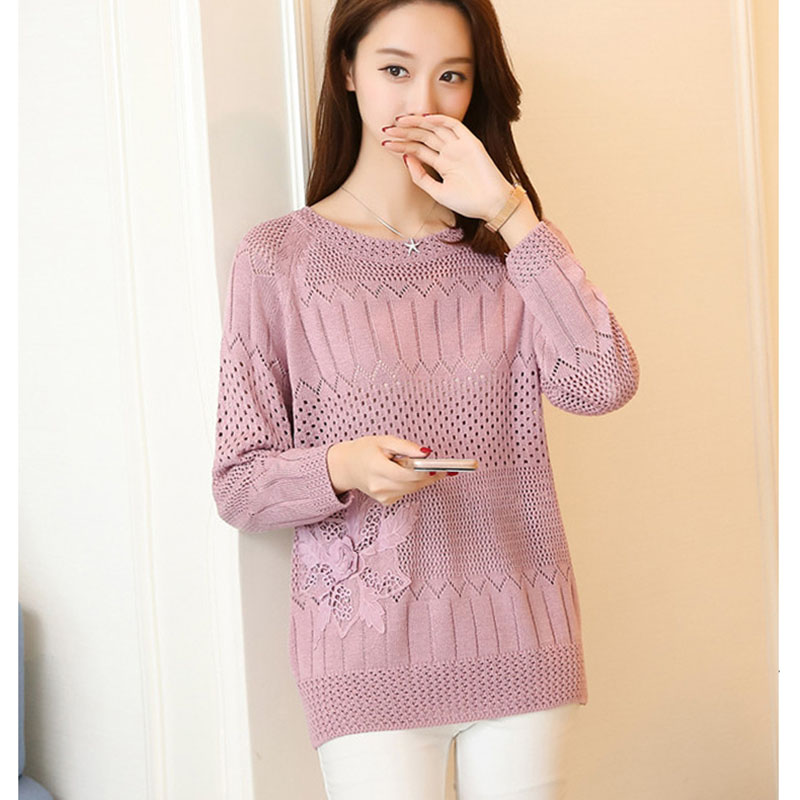 Summer Crochet Hollow Out Pullovers Women Knitted Thin Ladies Tops Long Sleeve Casual Ladies Pull O-Neck Jumper Female