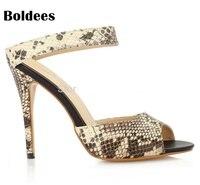 2018 High Heels Sandals Snakeskin Pattern Women Thin Heeled Shoes Women'S Buckle Open Toe Fashion Party Footwear