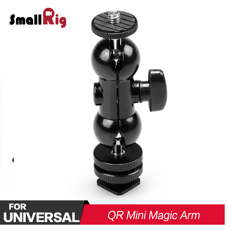 SmallRig DSLR Camera Rig Double End Ball Head With Cold Shoe And Thumb Screw 180 Degree Articulation For Monitor Attach 1135