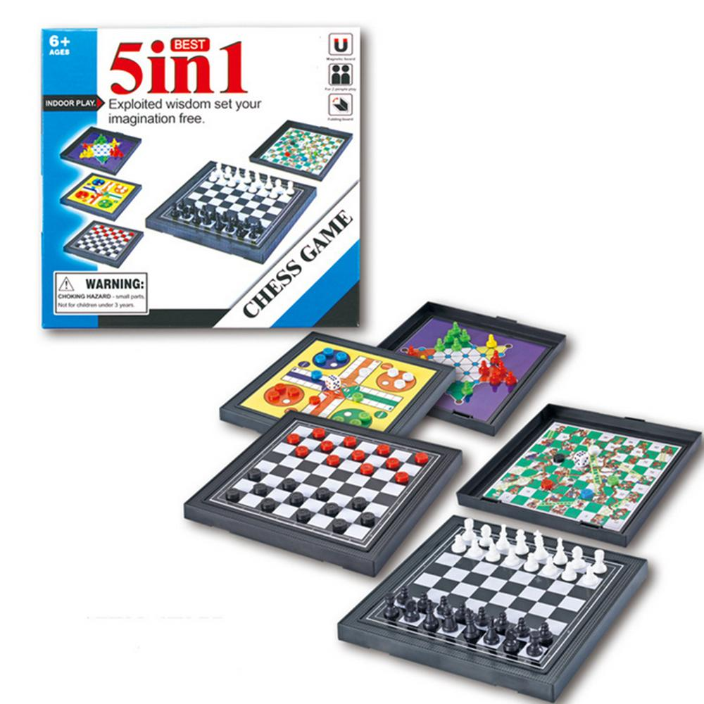 5 In 1 Chessmen Checkers Magnetic Board Game Flying Chess Ki…