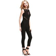 Fashion Design Womens 3 Color Business Playsuit Ladies Lace Short Sleeve Jumpsuit Women Solid V-Neck Hollow Lady Rompers 27De302