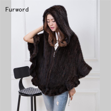 Genuine Mink Knit Jacket Women's Cloak Flounced V-Neck Hooded Jacket Fur Coat Fur Free Shipping