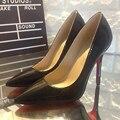 ENFRENTAR FORÇA 2016 Nova Marca Sapatos de Salto Alto de Camurça Sapatos de Fundo Vermelho Bombas de 6-10 CM de Casamento Das Mulheres Preto Sapatos Nude