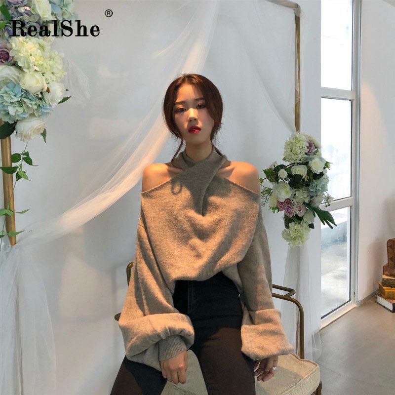RealShe 2018 Hot Sale Autumn Winter Sweater Women Casual Pullovers Women O-Neck Lantern Sleeve Knitted Tops Women Jumper Femme