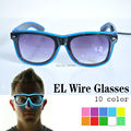 Quality Fashion Top El Wire Neon Light Up Shutter new arrival Glow LED Glasses Rave Costume Party DJ Bright SunGlasses 10 color