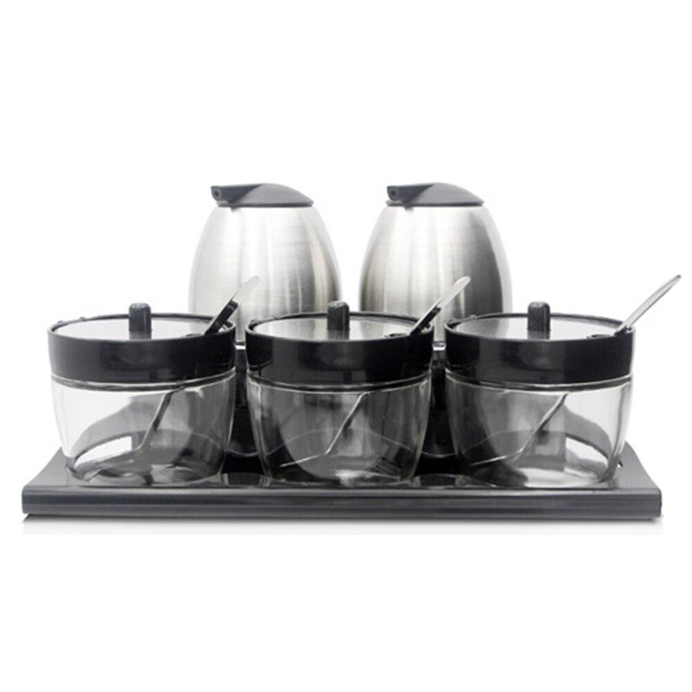 5 pièces verre assaisonnement pot Set cuisine Cruet boîte sel vinaigre huile bouteille avec cuillère 2019 nouveau