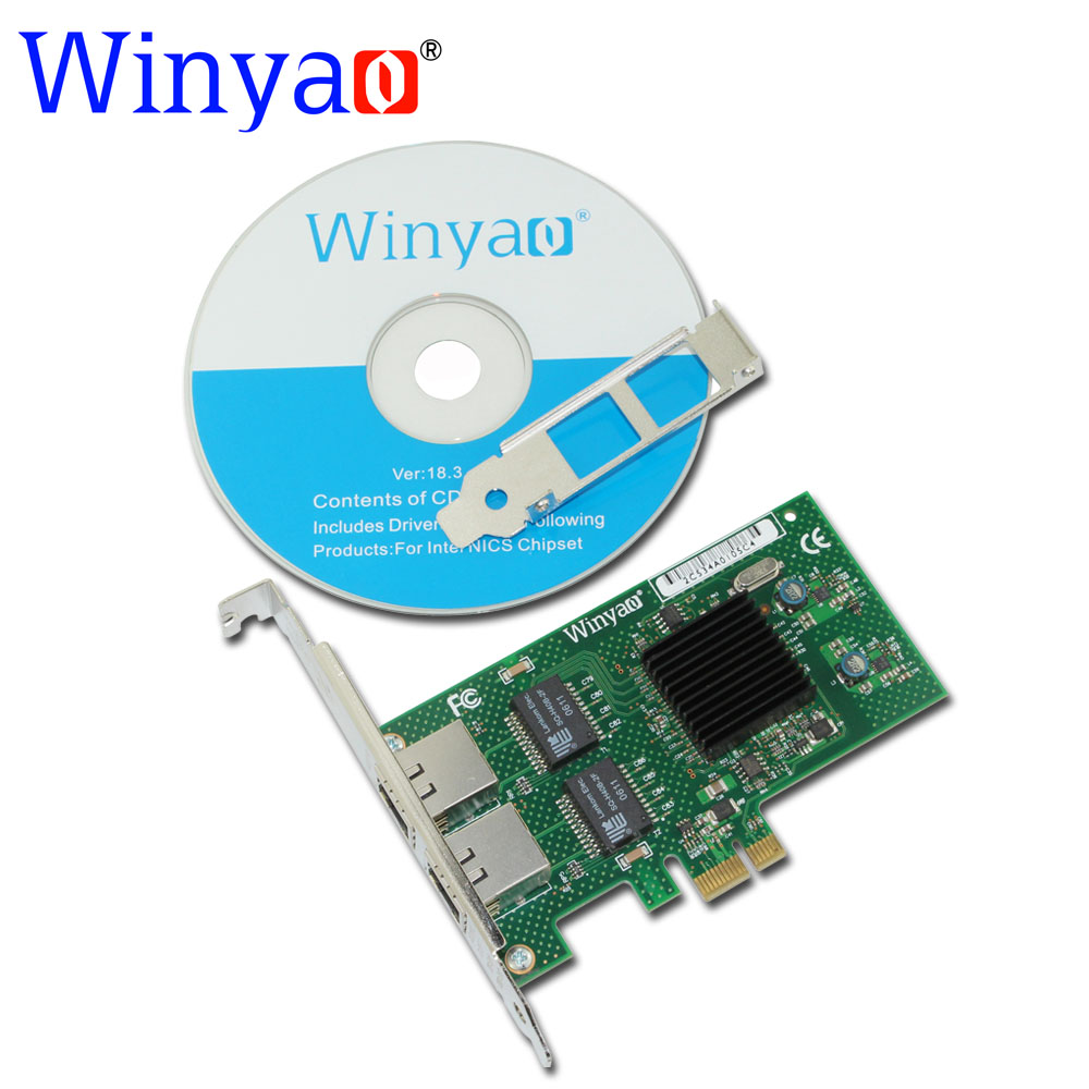 Winyao WY575T2 PCI-E X1 Dual-port Gigabit Ethernet Network Card 10/100/1000Mbps LAN Adapter Controller For intel 82575 E1G42ET вокальный микрофон ld systems handheld transmitter roadboyb5