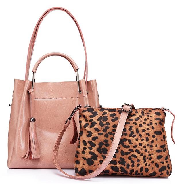 REALER brand women handbag high quality cow split leather tote bag large capacity female leopard print shoulder messenger bags