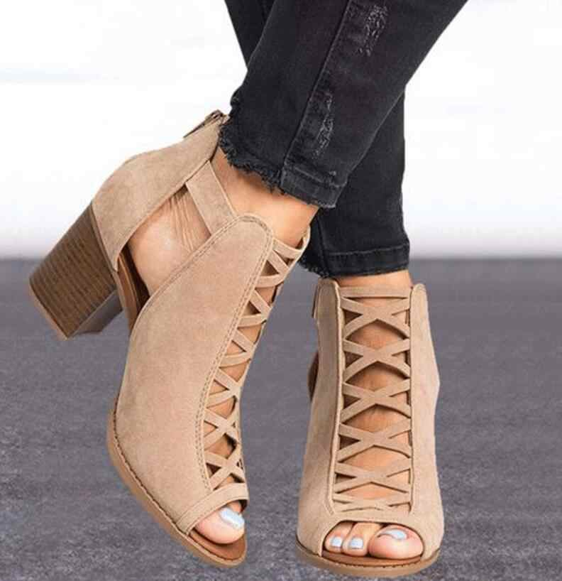 284e98f8807 sapato feminino women ankle boots peep toe cut out shoes woman chunky high  heels sandals gladiator chaussure sexy booties TA0041