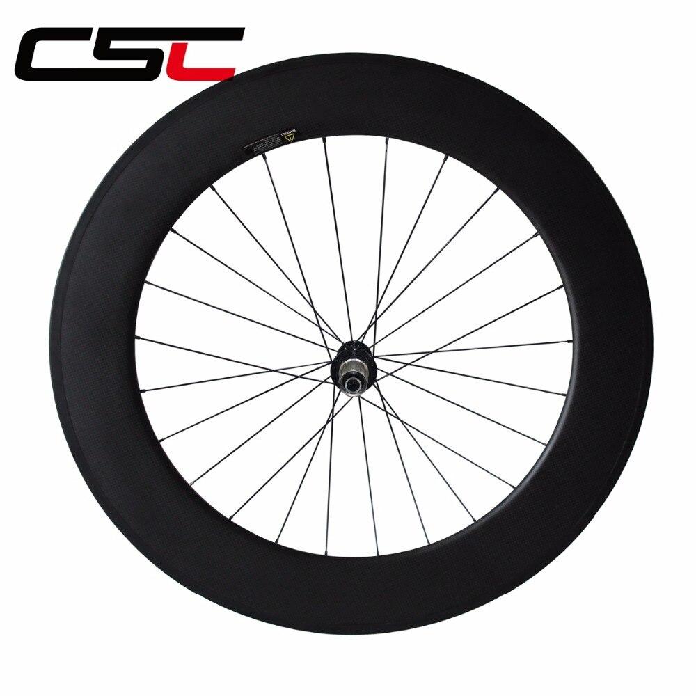 все цены на CSC 700C Single front or rear wheel 23mm wide 24/ 38/ 50/ 60/88mm Depth R13 hub Clincher Tubular Carbon road bike Wheels онлайн