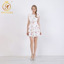SMTHMA 2019 Fashion printing Summer Dress Women's Sexy V-Neck lace up Sexy backless Hollow Out Elegant Pleated Dresses vestidos(China)