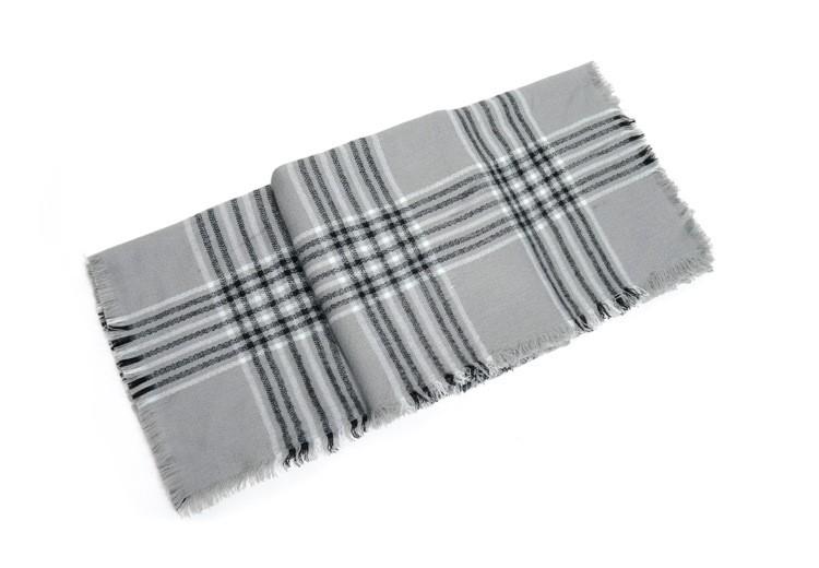 Grey Luxury Plaid Scarf | Blanket Scarves