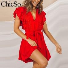 7f58206d7193 MissyChilli Dell increspatura del merletto di estate Delle Donne del  vestito rosso con scollo a v breve fasciatura biancheria se.