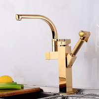 copper spray gun can pull out rotary kitchen faucet gold hot and cold mixer washing basin sink faucet bidet set