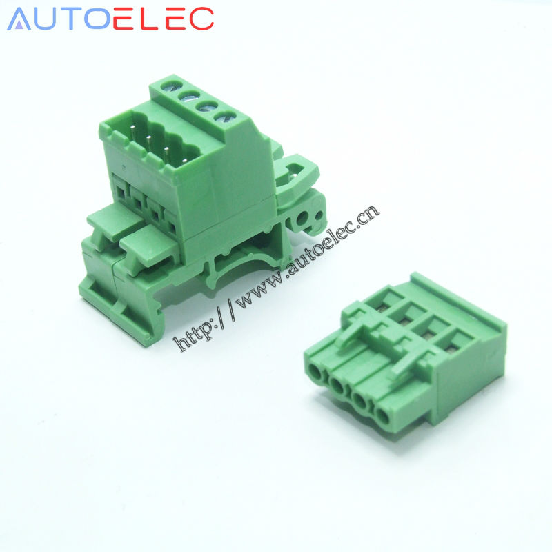 10sets Pitch 5.08mm <font><b>4pin</b></font> Screw Plug-in Terminal Blocks connector NS35mm Din Rail Mounting instead of NO: UMSTBVK2.5-4-G-5.08 image