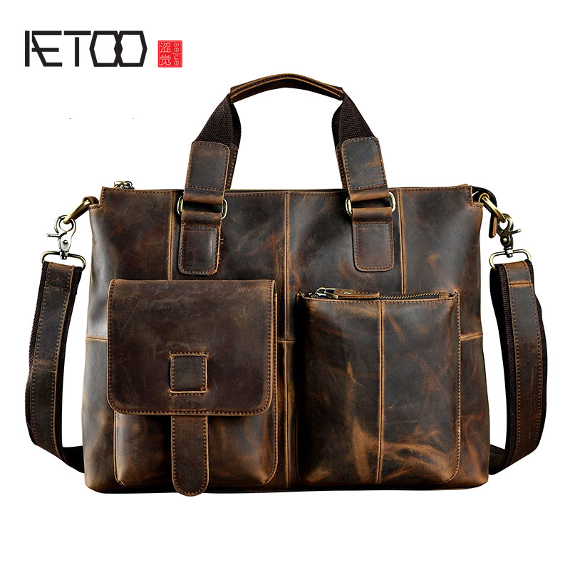 AETOO The first layer of oil wax leather leather original single retro men's 14-inch business portable document computer bag aetoo crazy horse leather leather classic classic men s 14 inch business portable computer bag