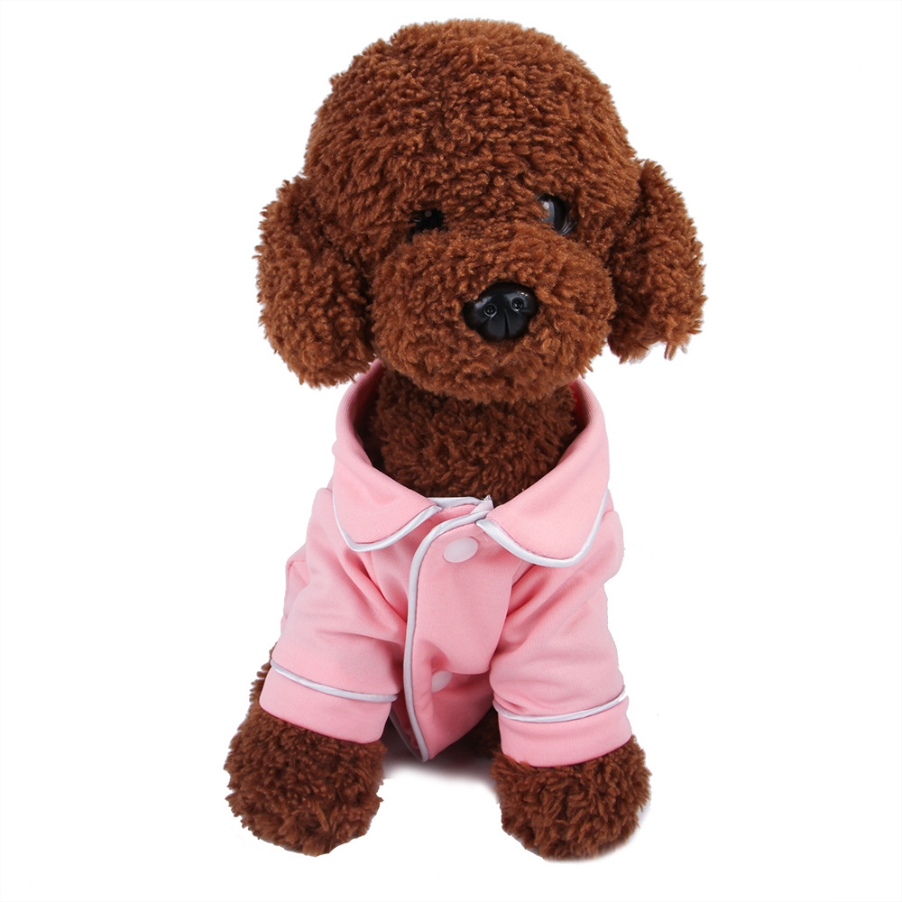 Dog Shirts Spring Summer Pet Pajama Breathable Soft Home T Shirt For Small Dogs Cats Chihuahua Poodle Vests With Snap Fastener (10)