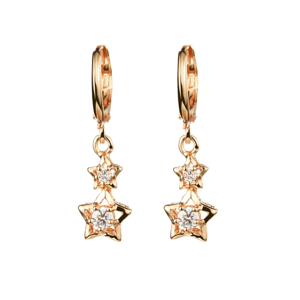 Fashion Jewelry Gold Plated Inlaid Cz Diamond Accessories Women's Classic  Little Star Drop Earrings Gift For