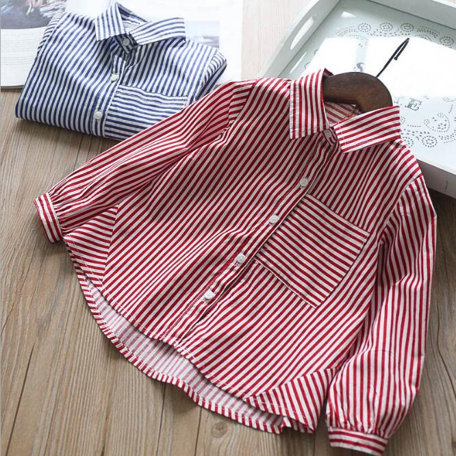 Autumn Baby Girl Clothes Striped Shirts Girls Princess Pocket Blouse 2018 Children Jumper tops Kids Clothing