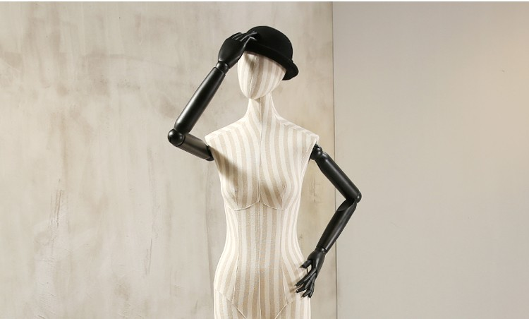 Props female half body mannequin cloth display rack high quality fashion mannequin women fabric mannequin with wooden arms (9)