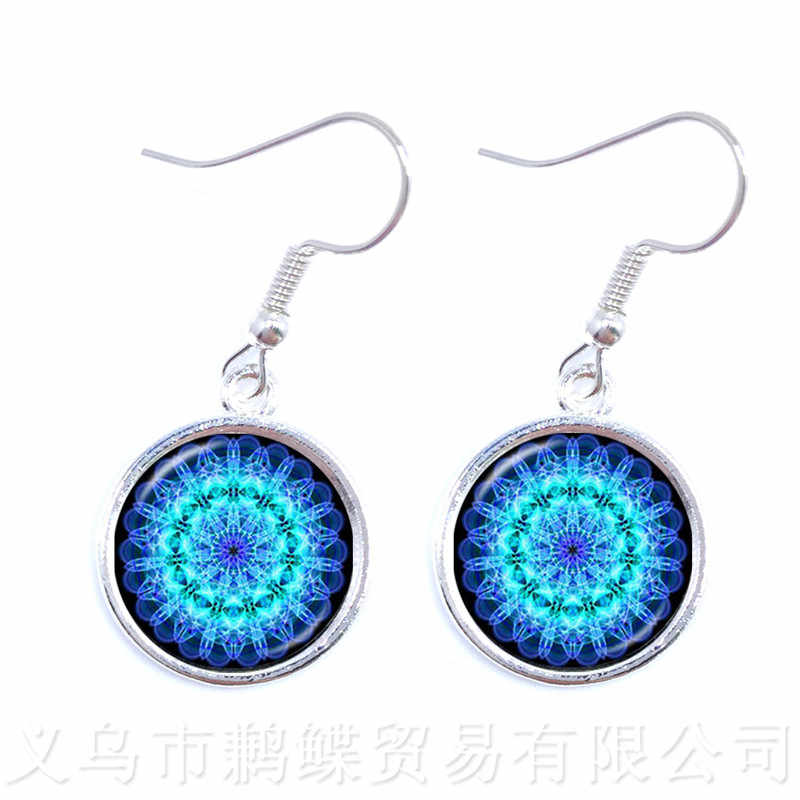 Enamel Mandala Lotus Earrings Henna Yoga Jewelry Drop Earrings For Women Charm Art Picture OM Symbol Buddhism Zen