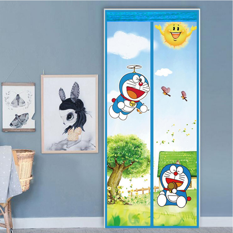 Doraemon Kitty Tulle Curtain Mosquito Net Door Summer 2018 Automatic Closing Door Fly Bug Insect Mesh Magnetic Screen 90x210cm