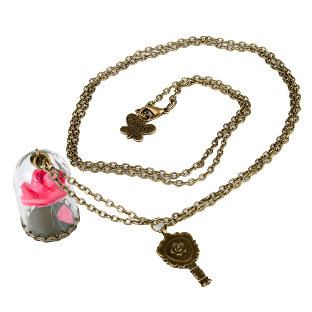 Natural Dried Flower Real Rose Round Heart Glass Locket