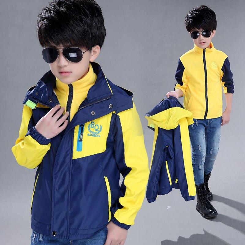 Детская осенняя куртка для мальчиков 2 шт. Съемная спортивной мальчик открытый пальто Дети Путешествия Куртки 7 9 11 13 14 15 лет