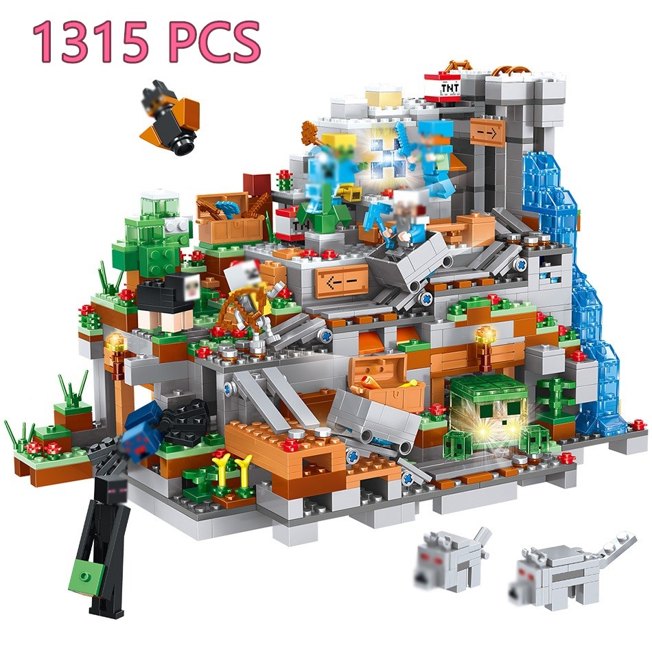 My World Mechanism Cave Building Blocks Compatible Minecrafted Aminal Alex Action Figures Brick Toys For Children