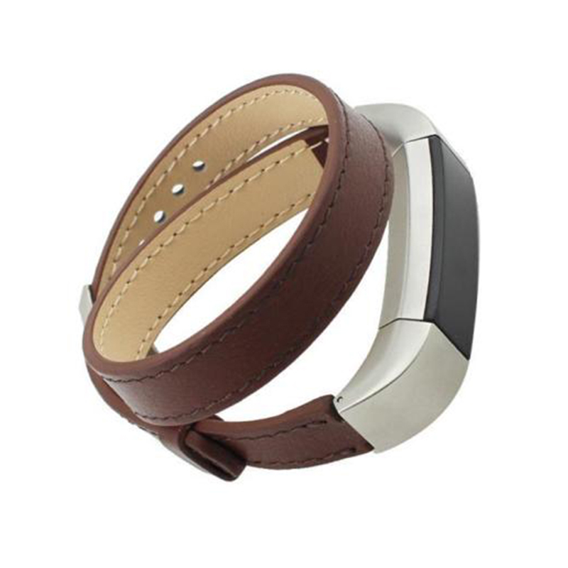 Replacement Genuine Leather Band Strap Bracelet For Fitbit Alta Fitness TrackerColour:Brown (Double Tour)