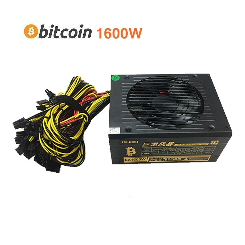 Etherfie Miner Powre Supply 1600W Bitcoin XMR Case Asic PSU ATX 12V 125A Apply R9 370 380 RX 470 480 570 580 1060 GPU Video Card