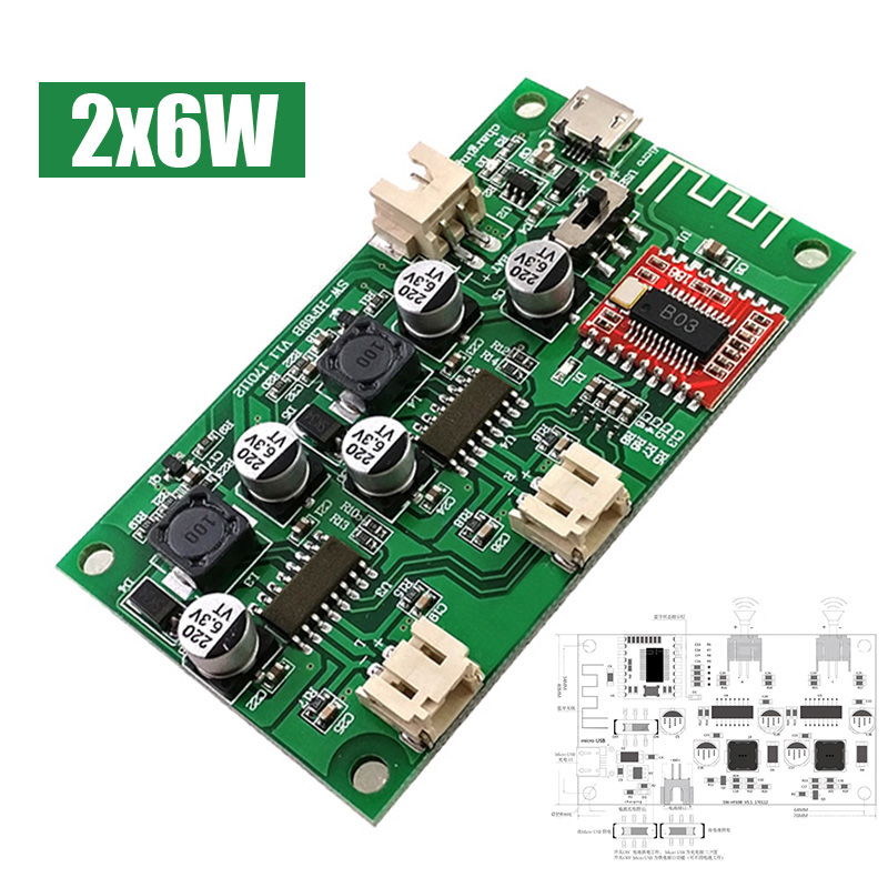 2X6W DC 5V Speaker Audio Amplifier Board Modified 2-Channel Stereo Bluetooth Amplifiers Receiver Module Lithium Battery Powered