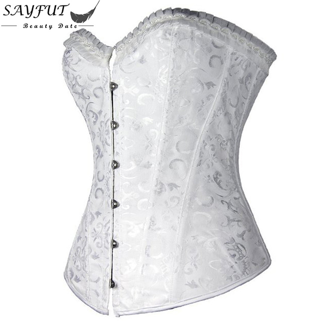SAYFUT S-6XL Sexy Corset Top for Women Gothic Corsets and Bustiers Bridal Wedding Overbust Corselet Embroidery Espartilho