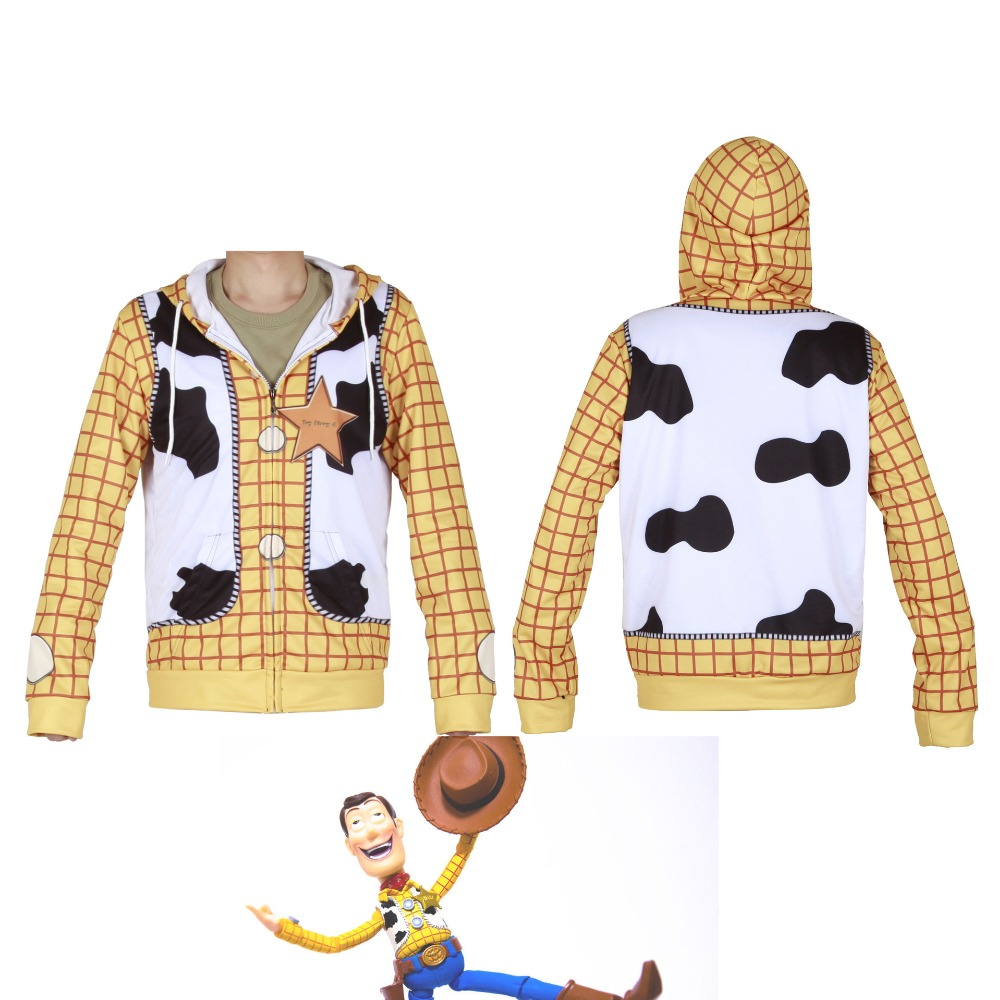 Anime Toy Story 4 Sherif Woody Hooded Jacket Cosplay Costume 3D Printing Zipper Adult Child Toy Story Hooded Sweatshirts