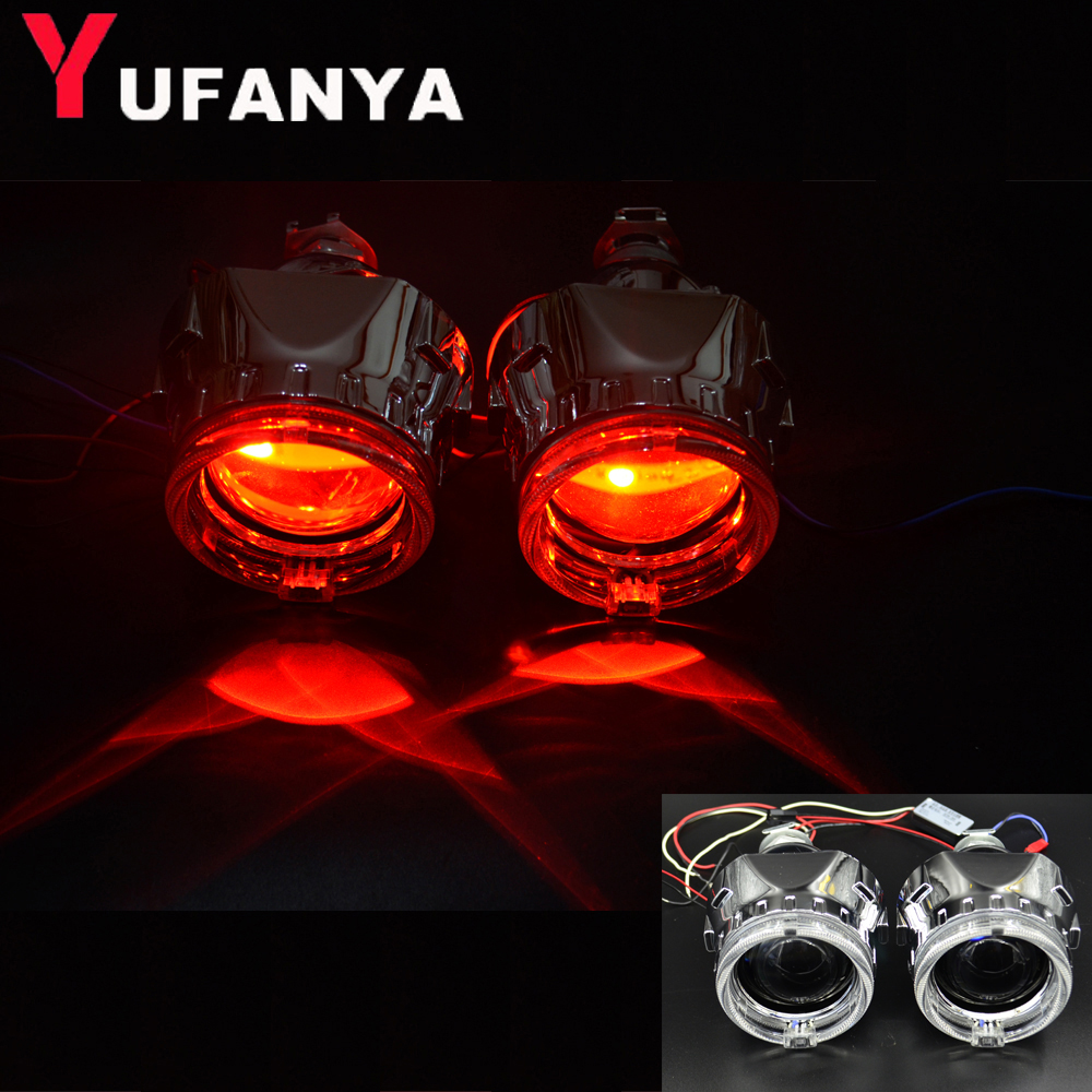 hid bixenon Projector lens with day running angel eyes shrouds car assembly kit fit for h1 h4 h7 assembly kit demon eyes 2 5 inch mini bi xenon hid projector lens with fire wheel angel eyes shrouds h1 h4 h7 retrofit car assembly kit new version