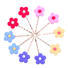 10pcs/set 7cm Long Gold Hair Clips Colorful Sun Flower Bobby Pins Matte Wave Barrette Accessories for Women Girls
