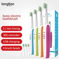 Langtian sonic Elektrische Zahnbürste Ultra sonic Smart USB Aufladbare Wasserdichte Erwachsene Zahnbürste Köpfe Reinigung Bleaching