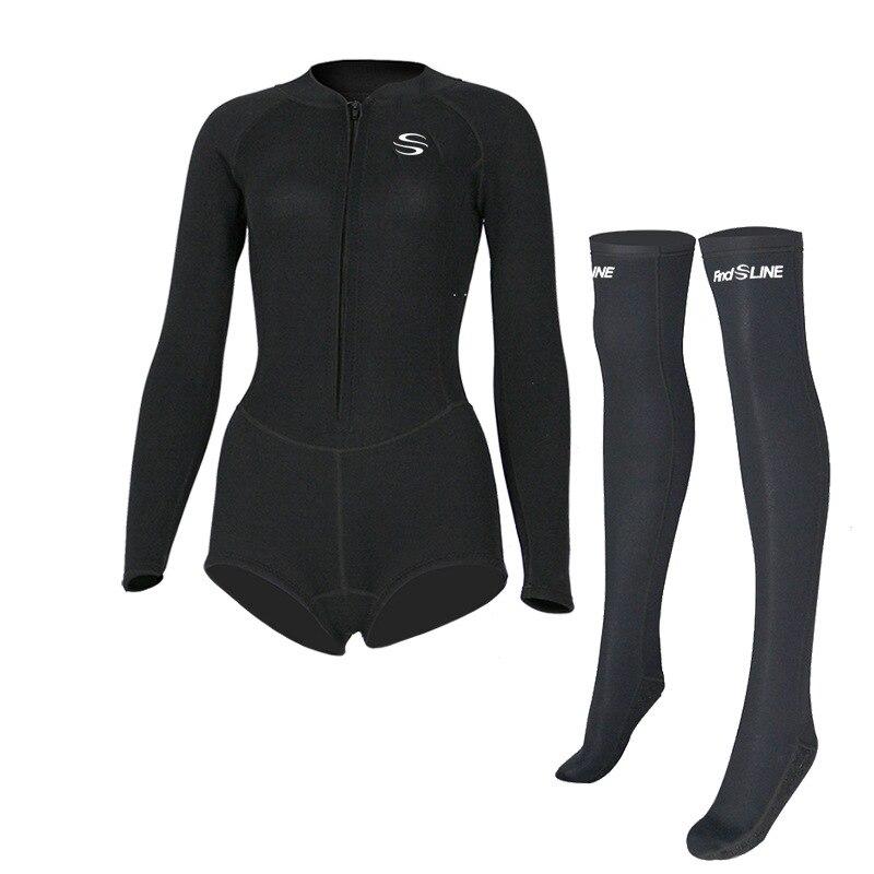 SLINX 2mm néoprène Anti-UV garder au chaud femmes à manches longues Bikini combinaison bas chaussettes longues maillots de bain avant Zipper combinaison de plongée - 5