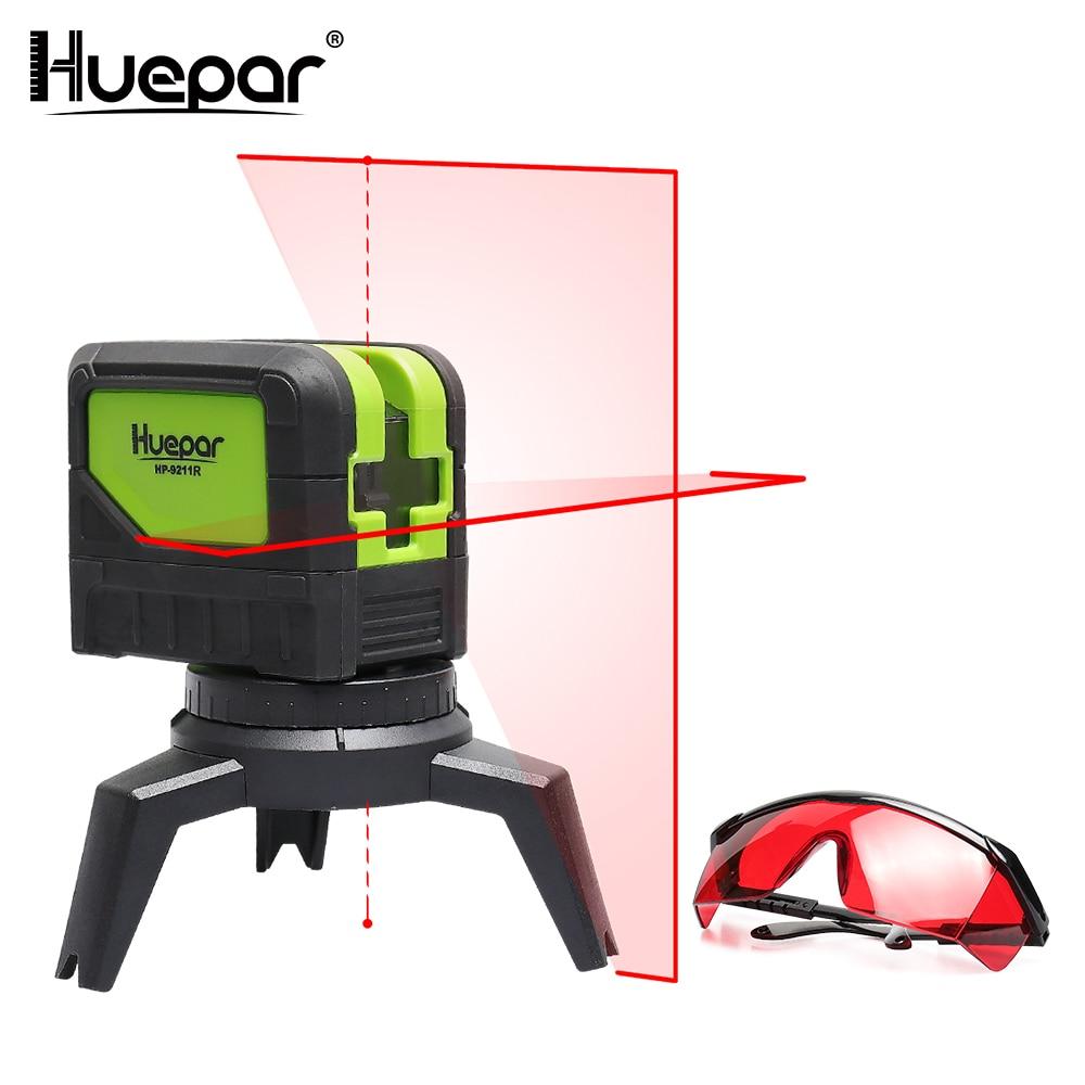 Huepar 2 line Red Cross Line Laser Level 2 Dots Self leveling Vertical Horizontal Lasers 2pcs