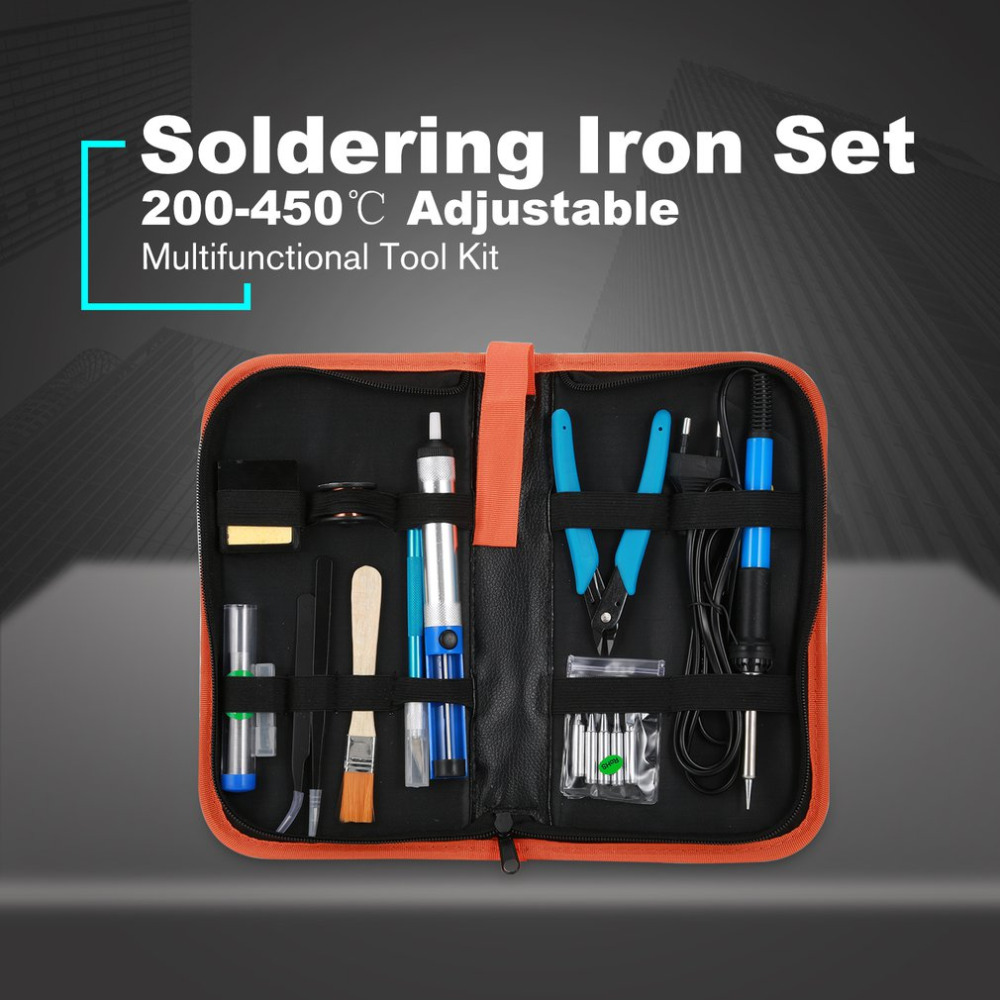 60W Electronic Soldering Iron Gun Welding Tool Kit Temperature Adjustable with Tips Desoldering Pump Tin Wire Repairing Tool