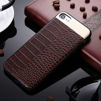 For IPhone 6 6S 7 Plus Case Luxury Crocodile Pattern Slim Leather Aluminum Cover Man Lady