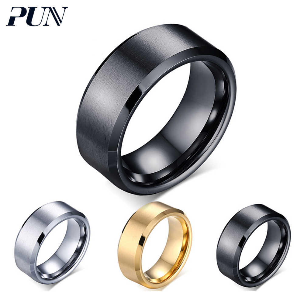 bc86a59d88f PUN men ring tungsten stainless steel jewelry accessories male rings gifts  for women silver black rose