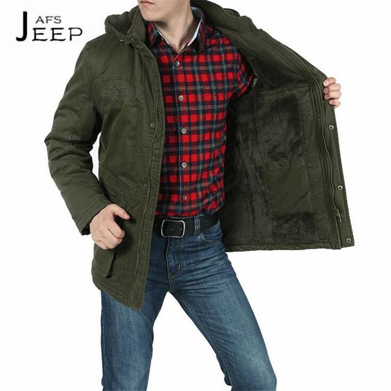 AFS JEEP Khaki army green black 100% Cotton mans military loose thickness cotton coats,La ropa de algodon para hombres 5XL to M