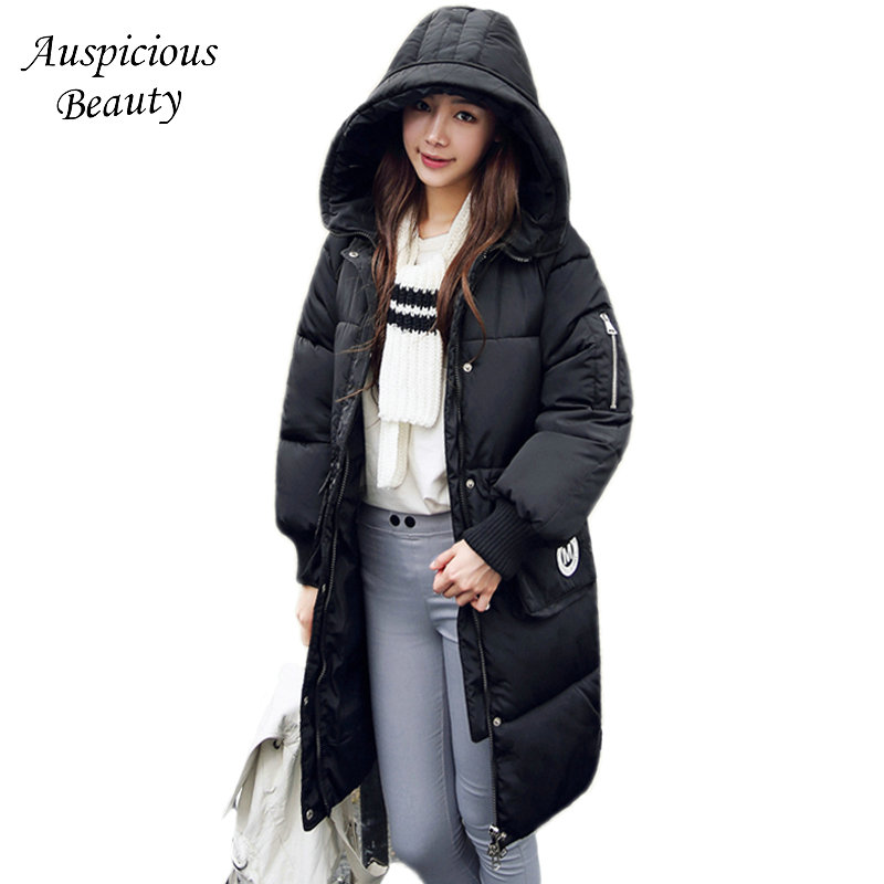 New Women Winter Cotton Padded Hooded Parkas Medium Long Wadded Jackets Female Warm Embroidery Woman Clothes Overcoat CXM93 new hot sale 2016 korean style boy autumn and spring baby boy short sleeve t shirt children fashion tees t shirt ages