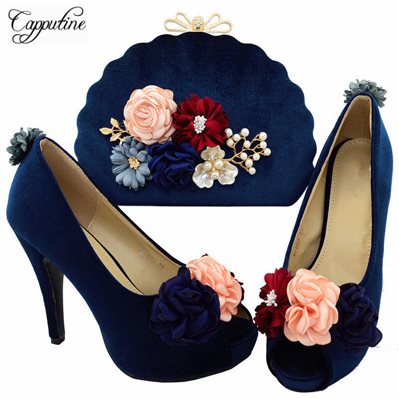 Capputine Dark Blue Color Flowers Woamn Shoes And Bag Set Italian High Heels Shoes And Bag Set For Party Dress Size 38-42 BL0027 vik max adult kids dark blue leather figure skate shoes with aluminium alloy frame and stainless steel ice blade