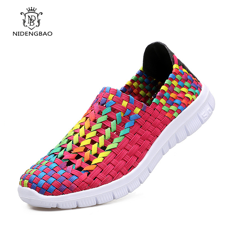 Summer Women Shoes Flat Female Loafers Women Casual Flats Woven Shoes Sneakers Slip On Colorful Shoe Mujer Plus Size 42 Footwear 2018 women summer slip on breathable flat shoes leisure female footwear fashion ladies canvas shoes women casual shoes hld919