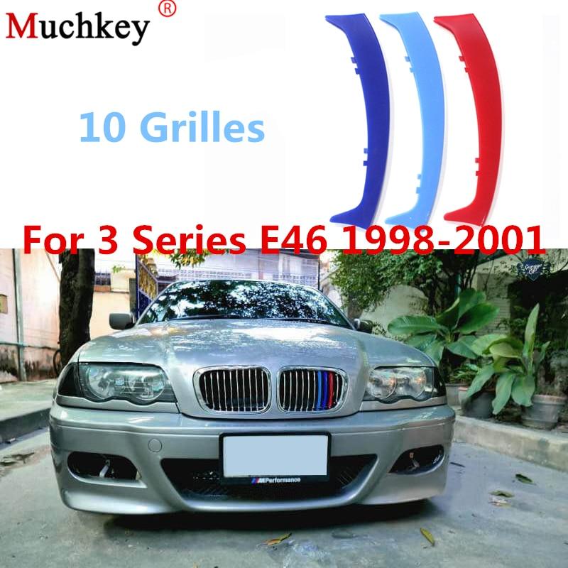3pcs 3D Car Front Grille Trim Sport Strips Cover Sticker For BMW 3 Series 1998 2001 E46 316 318 320 325 328 330 323 Sedan|Car Stickers| |  - title=