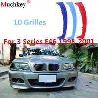 3pcs 3D Car Front Grille Trim Sport Strips Cover Sticker For BMW 3 Series 1998-2001 E46 316 318 320 325 328 330 323 Sedan