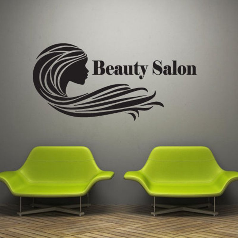 Hair salon sticker beauty scissors decal haircut name for Stickers salon design